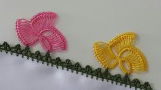 Butterfly Lace with Loop Motif Crochet Classes, Crochet Videos, Crochet Projects, Hand Embroidery Designs, Vintage Embroidery, Crochet Table Mat, Crochet Summer Tops, Crochet Curtains, Needle Tatting