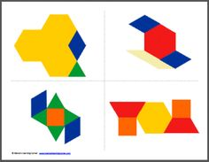 Pattern Block Cards Copy And Build Free Pattern Block Printables, Pattern Block Templates, Pattern Blocks, Block Patterns, Card Patterns, Shape Patterns, Creative Activities, Math Activities, Block Play