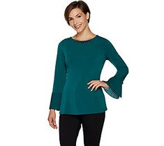 Susan Graver Artisan Liquid Knit Long Sleeve Top with Pleats