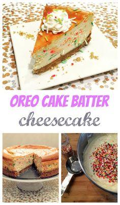 Oreo Cake Batter Cheesecake