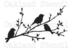 Birds STENCIL on a branch Four sizes for Painting Signs Wood Walls Fabric Canvas Airbrush Crafts Wall Decor Scrapbook Birds on a branch silhouette STENCIL 8 x 12 for by OaklandStencil Silhouette Design, Vogel Silhouette, Silhouette Cameo, Silhouette Projects, Canvas Silhouette, Silhouette Painting, Silhouette Images, Tree Silhouette, Diy Quilt