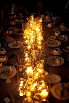 I love this - candles in mason jars - we could use tea lights or short votives. affordable way to add light to the table after dark (and tons of visual interest!)