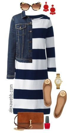 Plus Size Navy Striped Dress Outfit - Plus Size Fashion for Women - alexawebb.com #plussize #alexawebb