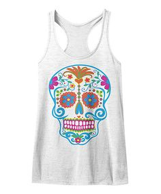 Look at this #zulilyfind! Heather White Sugar Skull Tank #zulilyfinds