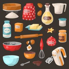 Baking cooking vector ingredients bake making cakes cook pastry prepare kitchen utensils homemade food preparation bake ware illustration bowl, sugar and powder , Kitchen Logo, Kitchen Art, Kitchen Tools, Kitchen Gadgets, Cake Illustration, Food Illustrations, Cooking Ingredients, Cake Ingredients, Food Clipart