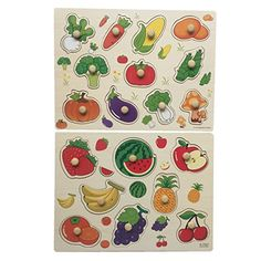 Home Learning Preschool Early Educational Develoment Colorful Fruit and Vegetables Wooden Peg Puzzle Jigsaw Bundle Shape Toys and Games for Age 2-7Year Olds Child Children Boys Girls - Product Description The pics around the puzzles make it a lot of fun to place them together. Kids will do the puzzle again and again.It can bring a lot of fun. We produced toys for 8 years. We has consistently delivered innovative children products with a commitment to uncompromising quality, saf...