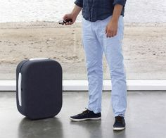 Hop. The suitcase that follows its user. Or rather, follows its user's cellphone signal. Hop contains three receivers able to intake, identify, and triangulate signals emanating from a linked cellphone. Once attached to a designated signal, a caterpillar system set of rollers, based on compressed air, allows the suitcase to tag along at a constant distance behind it.