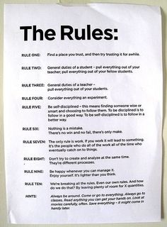 THE RULES according to John Cage.