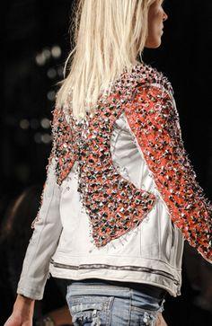 Balmain distressed antique white safety pin biker jacket