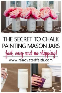 The EASIEST way to paint DIY mason jar crafts for centerpieces, home décor or baby showers in white, pastels or any color you choose. This DIY tutorial shows you how to paint mason jars with the best chalk spray paint & how to paint lids so they look rusty. Whether on a bathroom shelf or as a vase with flowers, vintage, distressed mason jars are a great addition to rustic farmhouse décor. Add glitter or gold paint for shower & wedding ideas. Frosted Mason Jars, Mason Jar Vases, Mason Jar Flowers, Mason Jar Centerpieces, Distressed Mason Jars, Rustic Mason Jars, Mason Jar Projects, Mason Jar Crafts, Diy Projects