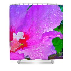 """Abstract Watercolor Hibiscus Shower Curtain for sale by Shelly Weingart.  This shower curtain is made from 100% polyester fabric and includes 12 holes at the top of the curtain for simple hanging.  The total dimensions of the shower curtain are 71"""" wide x 74"""" tall."""