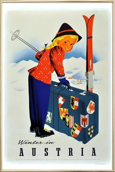 Shop Vintage Winter in Austria Travel Poster created by PD_Graphics. Personalize it with photos & text or purchase as is! Vintage Ski Posters, Vintage Advertising Posters, Vintage Advertisements, Retro Posters, Art Posters, Framed Art Prints, Poster Prints, Canvas Prints, Poster Poster