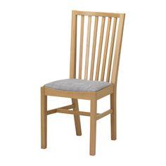 IKEA - NORRNÄS, Stuhl, Massive Eiche ist ein strapazierfähiges Naturmaterial mit natürlich-warmem Ausdruck.Hohe, gerundete Rückenlehne für besonders bequemes Sitzen.Gepolsterter Sitz für besonders bequemes Sitzen.