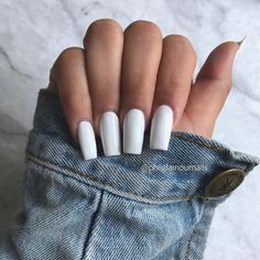 "If you're unfamiliar with nail trends and you hear the words ""coffin nails,"" what comes to mind? It's not nails with coffins drawn on them. It's long nails with a square tip, and the look has. Black Acrylic Nails, Square Acrylic Nails, Best Acrylic Nails, Long Square Nails, Aycrlic Nails, Matte Nails, Gorgeous Nails, Pretty Nails, Fire Nails"