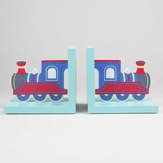 GORGEOUS SASS & BELLE BLUE TRAIN BOOK ENDS BOYS/CHILDRENS
