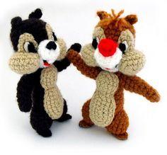 Ahhhhh, Chip and Dale:  free crochet pattern... in Deutsch, Englisch, Spanisch + Dänisch ;O)