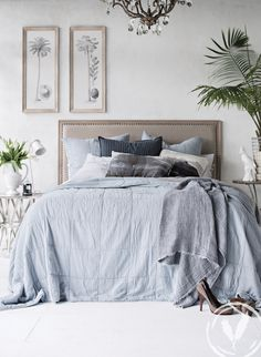 Skye quilt, assorted cushions and studded bedhead for a toned but fresh look. www.frenchcountry.co.nz