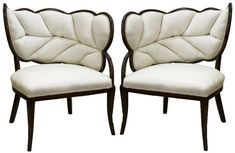 Pair of French Art Deco Leaf Form Upholstered Chairs