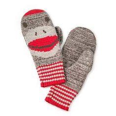 sock monkey gloves