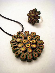 Polymer Clay Pendant and Ring by Carina's Photos and Polymer Clay, via Flickr