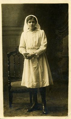"""Mary the Nurse, Postcard photo. Written on reverse : """"To Miss Flowerday From Mary with love. Jan 17. 1917"""""""