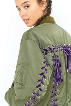 G.V.G.V. MA1 Khaki Lace Up Bomber Jacket - Urban Outfitters