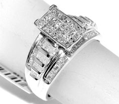 1ct Diamond ring Princess cut diamonds Ladies wide ring 3 in 1 style Stelring Silver #Rings-MidwestJewellery.com