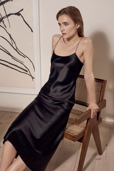 """This is a silk satin slip dress from the brand """"Refine"""". Silk satin textiles are becoming more popular in apparel and accessory products. I believe this trend will continue especially in items like sh Silk Satin Dress, Silky Dress, Silk Slip, Satin Dresses, Satin Slip, Slip On, Bias Cut Dress, V Neck Midi Dress, Dress Skirt"""