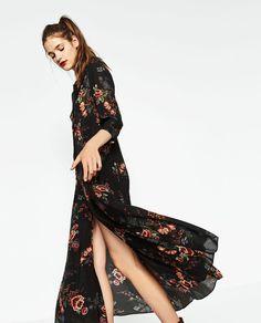 LONG PRINTED DRESS-DRESSES-WOMAN | ZARA United Kingdom Zara Fashion, Diy Fashion, Fashion Beauty, Autumn Fashion, Zara Mode, Best Black Friday, Other Outfits, Her Style, New Dress