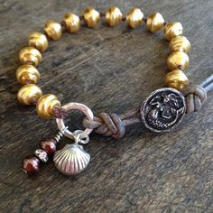 Gold Pearl Bracelet, Mermaid & Clamshell, Sterling Silver Knotted Leather Wrap Bracelet, Beach Chic Jewelry $40.00
