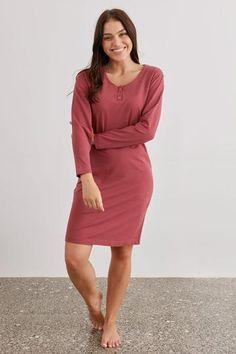 Luxury Sleepwear Long Sleeved Knit Nightie - Honor – My Sanctuary NZ Womens Nighties, Mulberry Color, Pajama Set, Lounge Wear, Dresses For Work, Sleep, Knitting, Luxury, Stylish