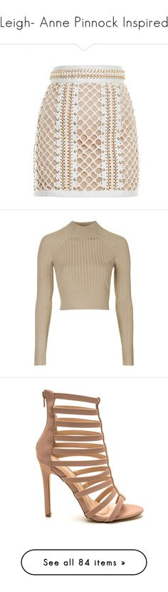 """Leigh- Anne Pinnock Inspired"" by xhoneymoonavenuex ❤ liked on Polyvore featuring skirts, mini skirts, bottoms, saia, balmain, faldas, body con skirt, leather mini skirt, short leather skirt and eyelet skirt"