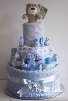 Donna's Doodles: 3 Tier Baby Boy Nappy Cake