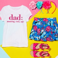 Girls' fashion | Kids' clothes | Dad graphic tee | Floral print skirt | Sandals | Flower headband | Father's Day outfit | The Children's Place