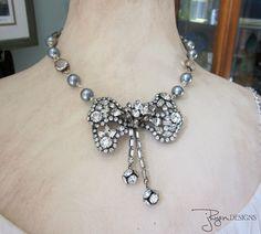 Art Deco Necklace Rhinestones Vintage Repurposed by jryendesigns
