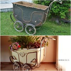Before and after. Antique baby carriage of the early 1900s, restored by Capitulo Dos