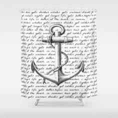 Anchor Shower Curtain By Kristi Kaz   $68.00