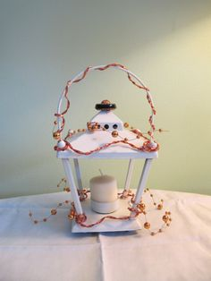 Items similar to White Lantern Votive Candle Holder Upcycled with Copper Wire & Beads on Etsy A Table, Table Lamp, Metal Candle Holders, Hanging Lanterns, Mantle, Upcycle, Shabby Chic, Copper, Cool Stuff