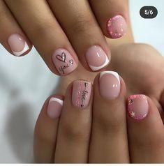 Nail Art Designs Images, Square Nail Designs, Short Square Acrylic Nails, Square Nails, Pink Nail Colors, Pink Nails, Love Nails, My Nails, Home Nail Salon