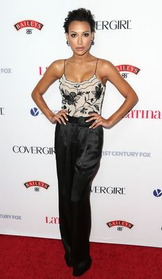 Naya Rivera wears a vintage Armani top and Bec and Bridge pants to the Hollywood Hot List Party.