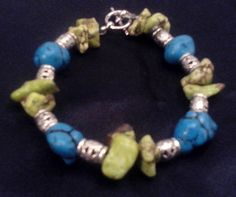 Items similar to Blue and Lime Green Turquoise with Silver Metal Bracelet on Etsy Metal Bracelets, Beaded Bracelets, Green Turquoise, Silver Metal, Craft Items, Lime, Etsy, Jewelry, Jewellery Making