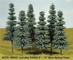 Bachmann SceneScapes 8 to 10 Inch Blue Spruce Trees, Pkg. of 3