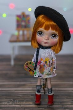 "Custom SBL Blythe Doll ""Frances the Artist"" OOAK - Art doll by Mayra Galland #Takara"