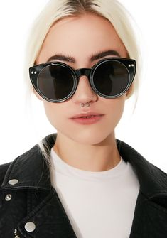 Spitfire Alpha Sunnies will let 'em know that you're the HBIC. These sunnies have black frames, round dark gray lenses, and two silver studs on each corner.