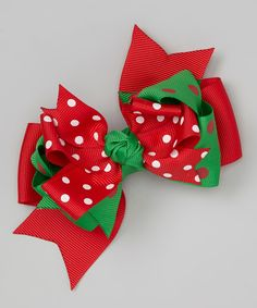 Take a look at this Red Polka Dot Bow Clip on zulily today!