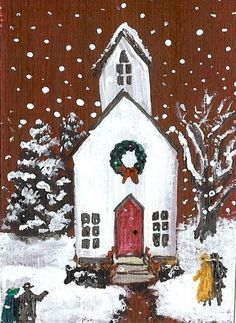 Detail Image for art ACEO Folk Art Sheep Primitive Miniature Painting by Moody Christmas Canvas, Christmas Paintings, Christmas Art, Christmas Sweets, Primitive Folk Art, Arte Popular, Winter Art, Christmas Pictures, Oeuvre D'art