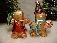 Gingerbread Man, Woman Glass Christmas Tree Ornaments