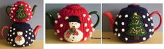 Christmas Tea Cosy-This pattern is available as a free Ravelry download. This festive tea cosy has a snowman on one side, a Christmas tree on the other and snowballs all over. The pattern includes instructions for a small cosy to fit a three cup teapot and a larger one for a six cup pot.