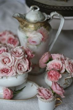 A piece of shabby chic decorating - a romantic floral tea set