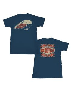 Led Zeppelin Legends Mens T-Shirt - This Led Zeppelin mens t-shirt in blue, features the image of a zeppelin airship, labelled with a red Led Zeppelin logo, printed on its front, with four Union Jac